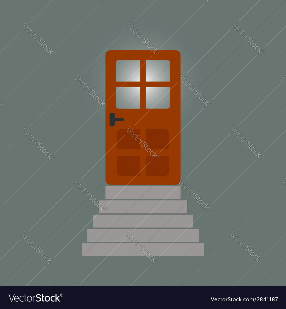 Staircase to the door behind which light vector | Price: 1 Credit (USD $1)