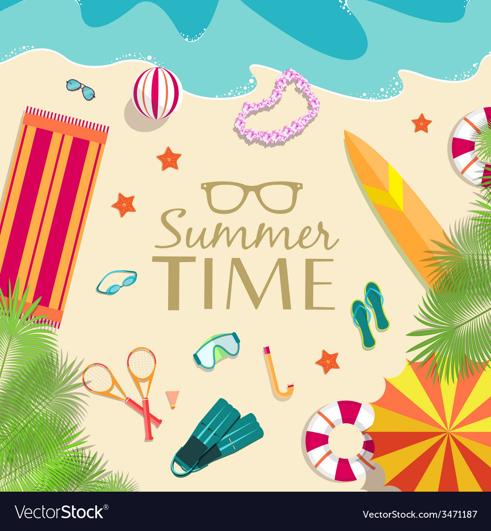 Summer vecetion time background concept vector   Price: 1 Credit (USD $1)