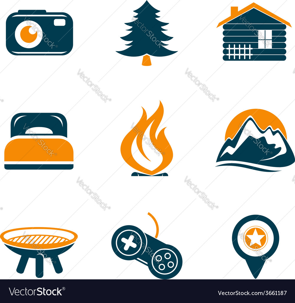 Travel and outdoor icons set vector | Price: 1 Credit (USD $1)