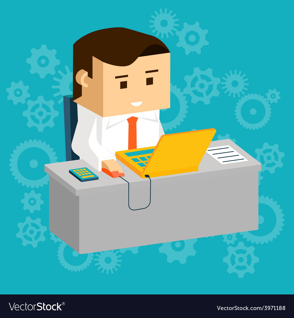 Cartooned businessman at working table with laptop vector | Price: 1 Credit (USD $1)