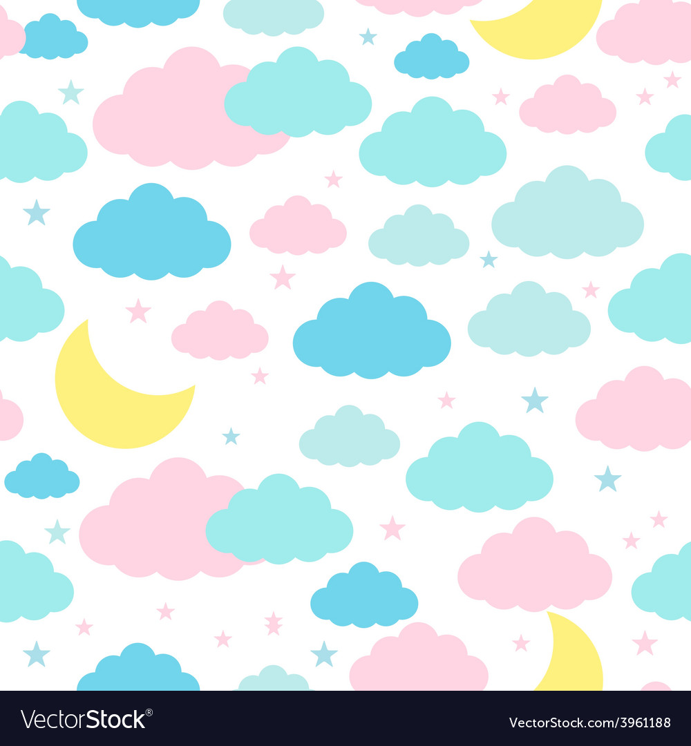 Childish seamless background with moon clouds and vector | Price: 1 Credit (USD $1)