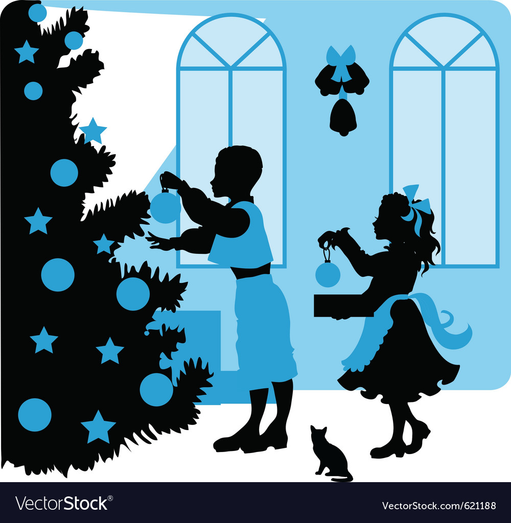 Christmas kids silhouettes vector | Price: 1 Credit (USD $1)