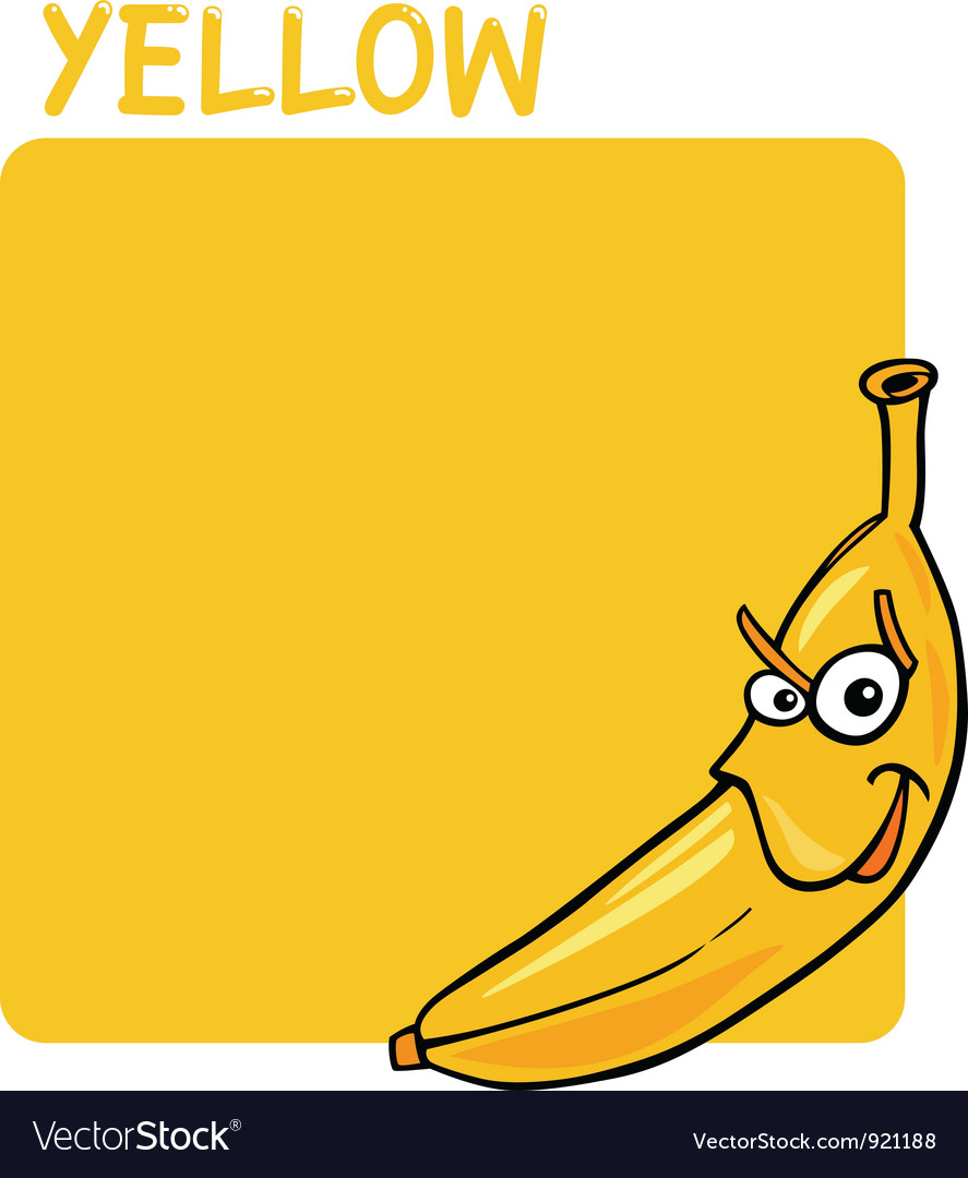 Color yellow and banana cartoon vector | Price: 1 Credit (USD $1)
