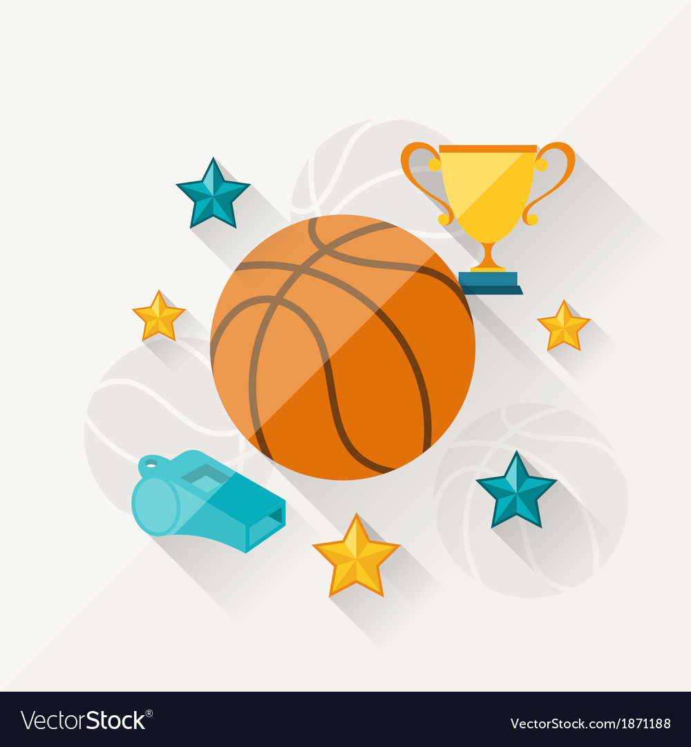 Concept of basketball in flat design style vector | Price: 1 Credit (USD $1)