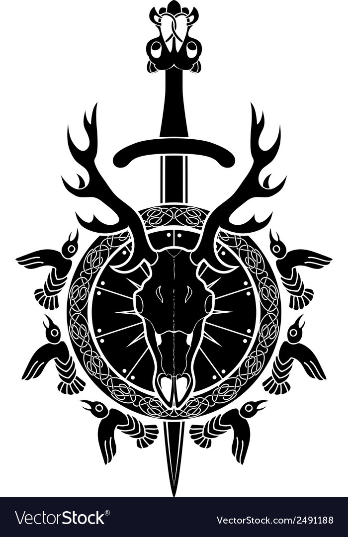 Deer skull sword and shield north viking vector | Price: 1 Credit (USD $1)