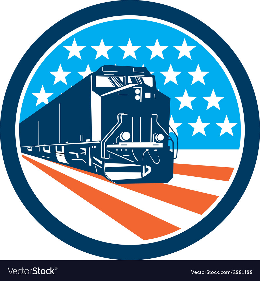 Diesel train american stars stripes retro vector | Price: 1 Credit (USD $1)