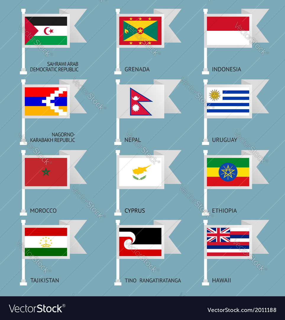 Flags set four-15 vector | Price: 1 Credit (USD $1)
