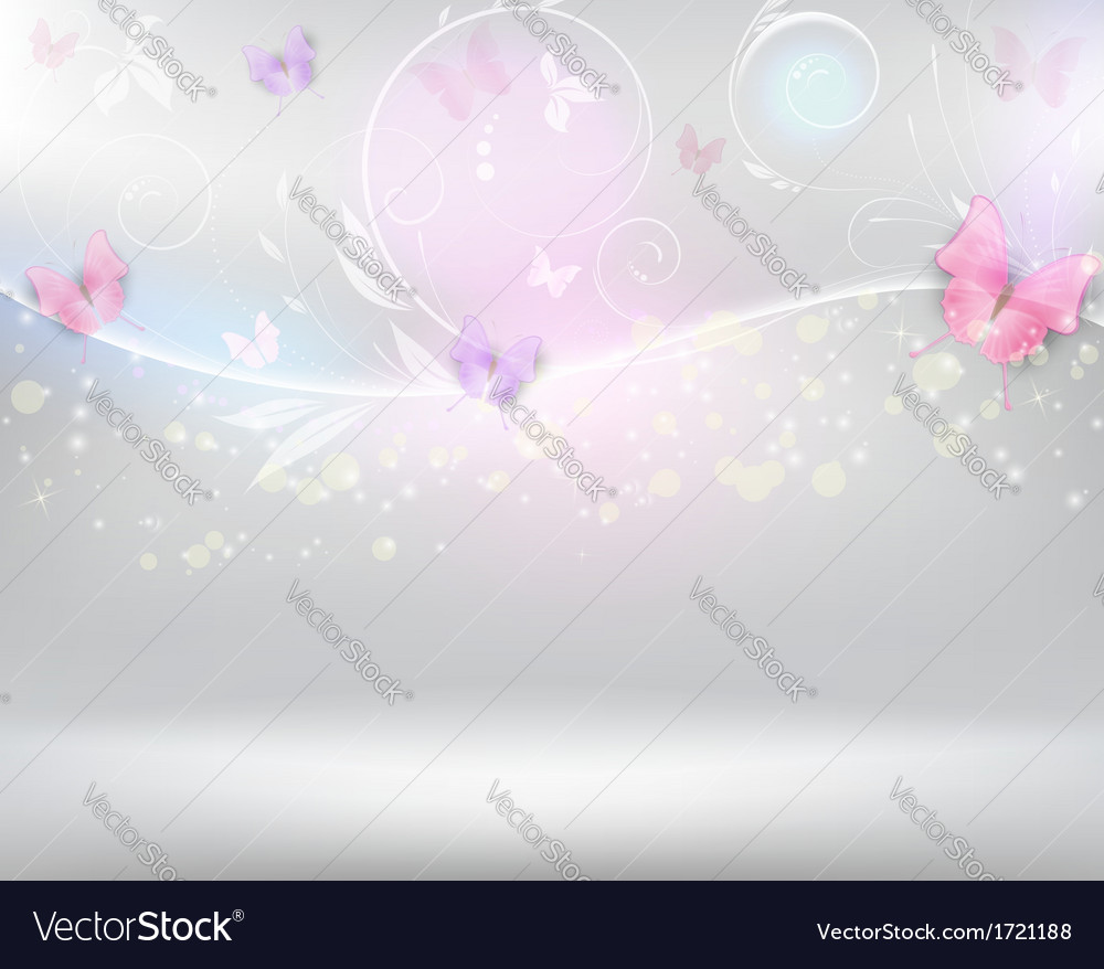Horizontal background with color butterflies vector | Price: 1 Credit (USD $1)