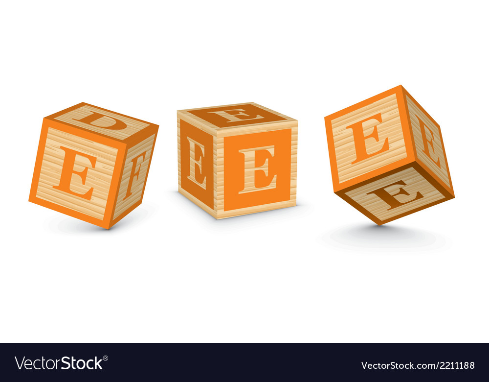 Letter e wooden alphabet blocks vector | Price: 1 Credit (USD $1)