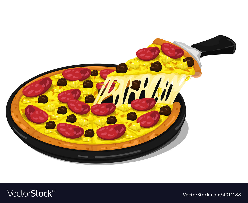 Pizza pepperoni and meatballs slice vector   Price: 1 Credit (USD $1)