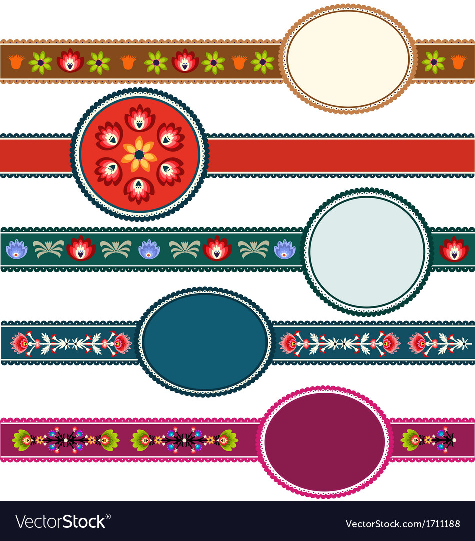 Polish folk labels vector | Price: 1 Credit (USD $1)