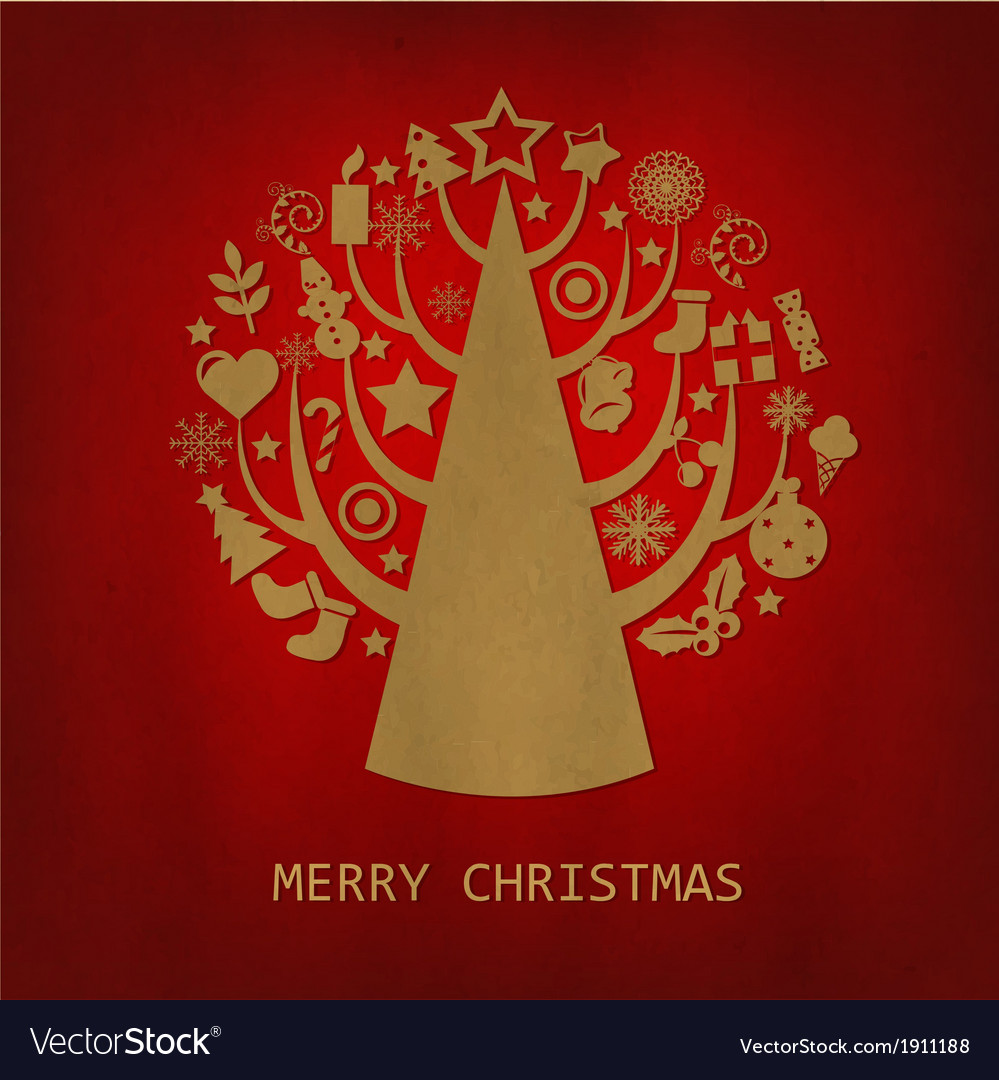 Red merry christmas vintage card vector   Price: 1 Credit (USD $1)