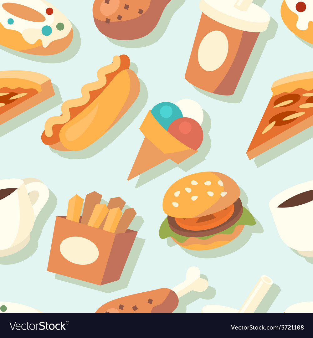 Seamless pattern with fast food icons vector | Price: 1 Credit (USD $1)
