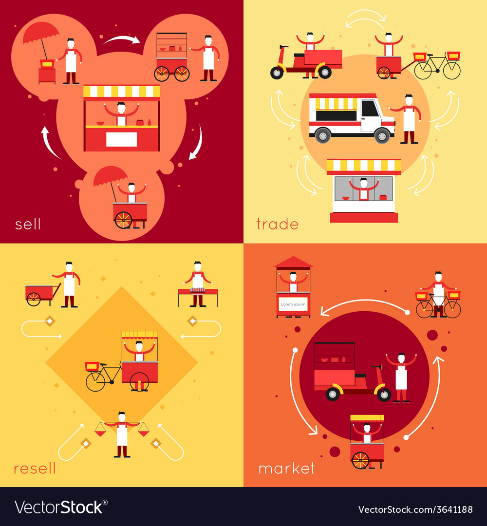 Street food flat set vector | Price: 1 Credit (USD $1)