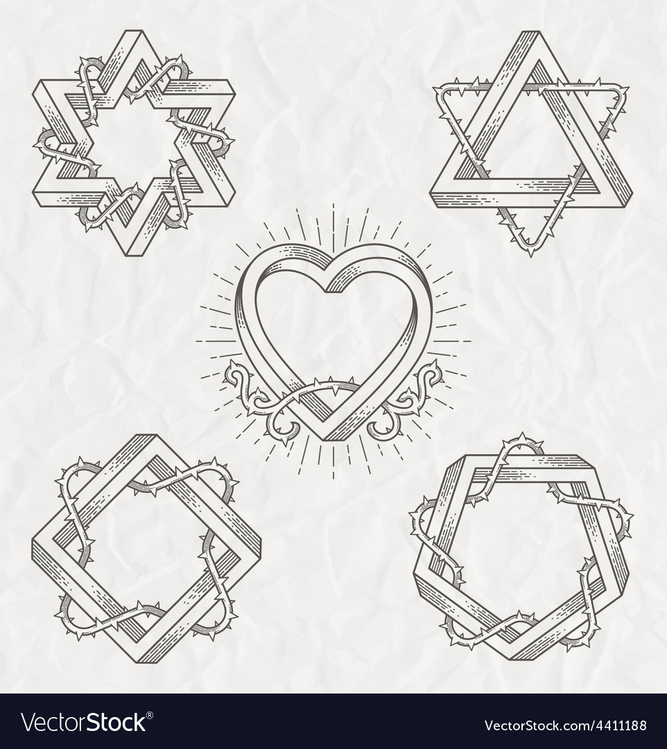 Tattoo style line art shape vector | Price: 1 Credit (USD $1)