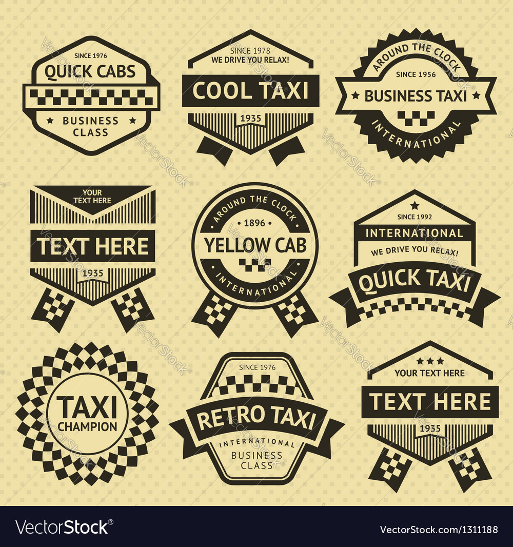Taxi cab set insignia old style vector | Price: 1 Credit (USD $1)