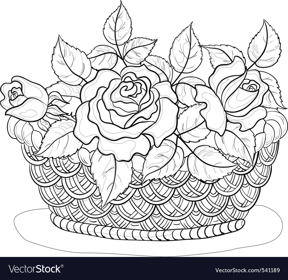Basket with flowers contours vector | Price: 1 Credit (USD $1)