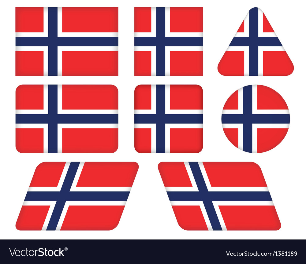 Buttons with flag of norway vector | Price: 1 Credit (USD $1)