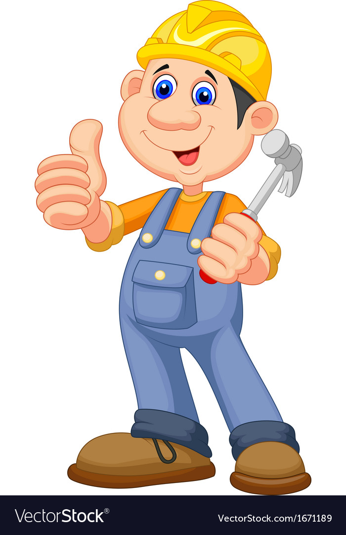 Cartoon construction worker repairman vector | Price: 1 Credit (USD $1)