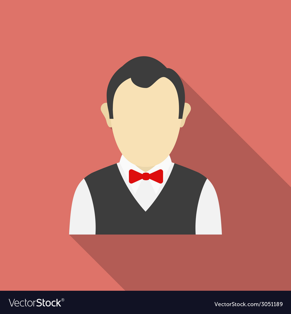 Croupier icon modern flat style with a long shadow vector | Price: 1 Credit (USD $1)