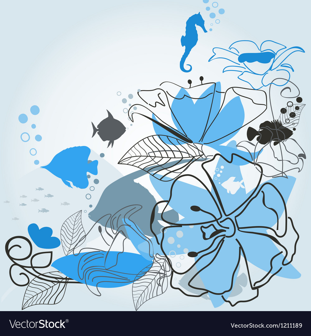 Fishes a flower vector | Price: 1 Credit (USD $1)