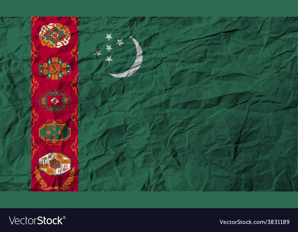 Flag of turkmenistan with old texture vector | Price: 1 Credit (USD $1)