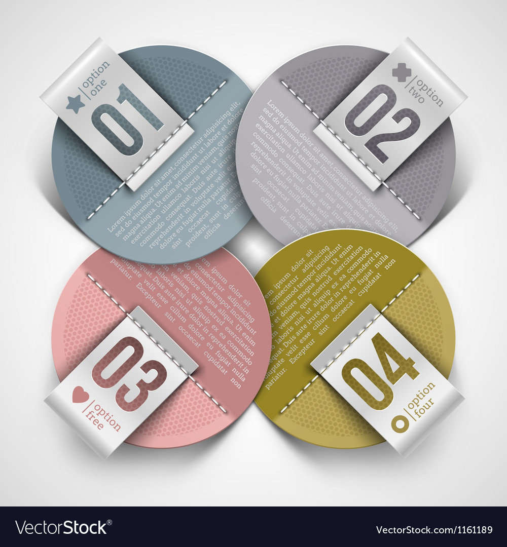 Numbered infographics round paper labels vector | Price: 1 Credit (USD $1)