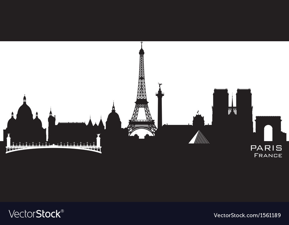 Paris france skyline detailed silhouette vector | Price: 1 Credit (USD $1)