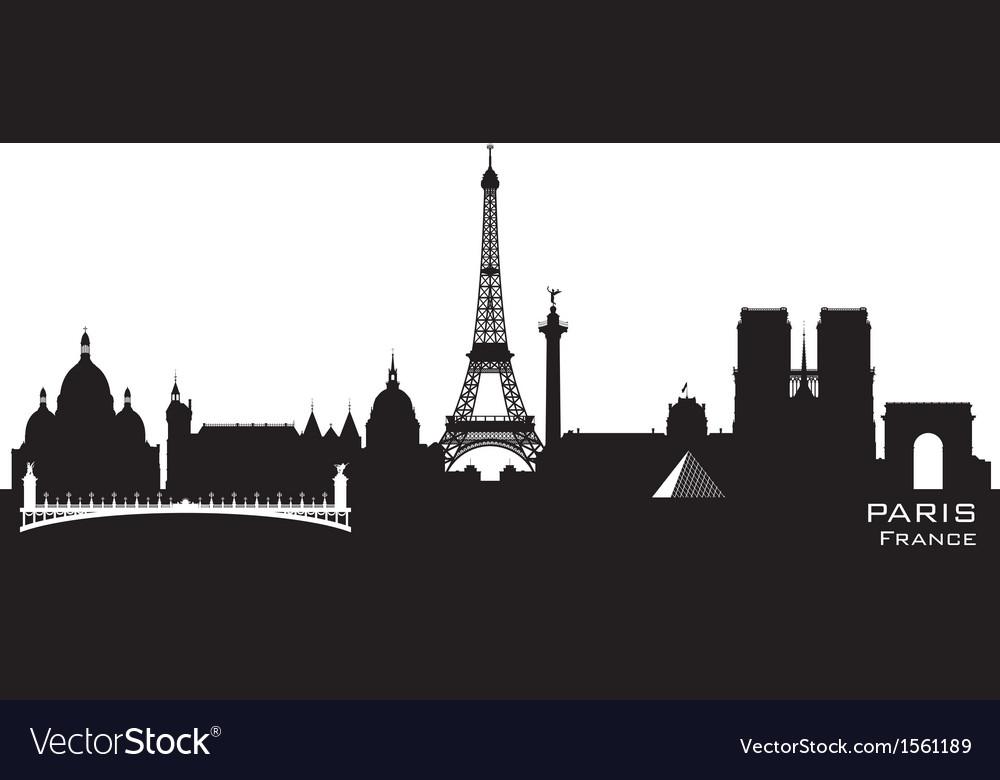 Paris france skyline detailed silhouette vector