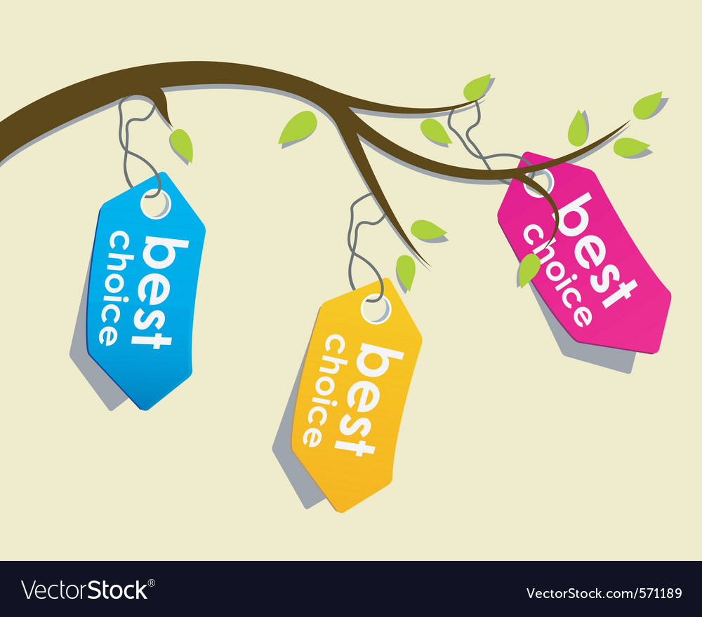 Price tags on branch vector | Price: 1 Credit (USD $1)