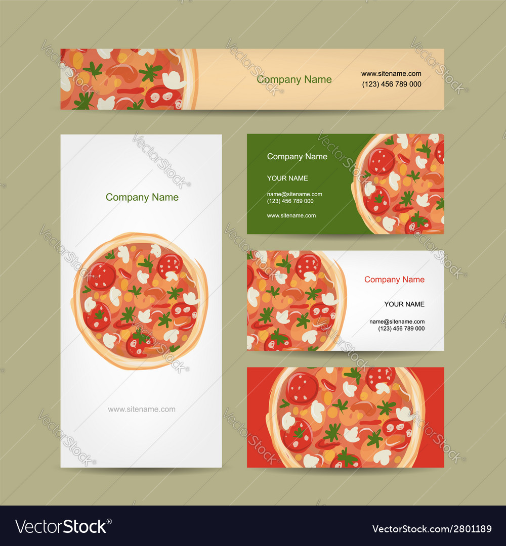 Set of business cards design with pizza vector | Price: 1 Credit (USD $1)