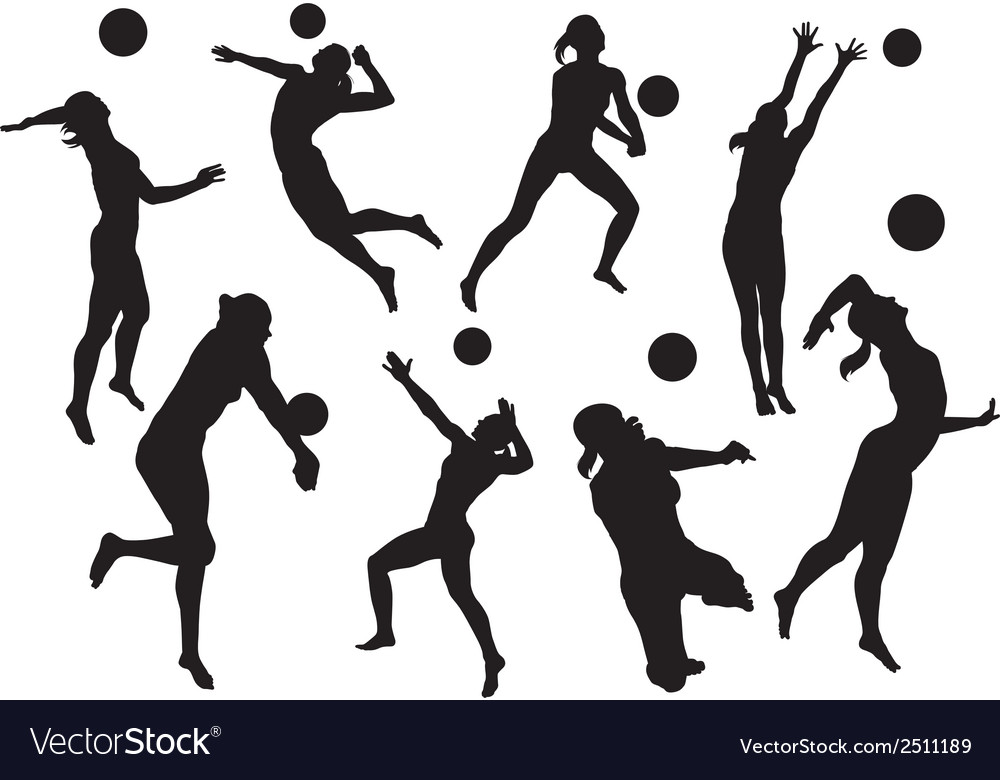 Silhouettes beach volleyball vector | Price: 1 Credit (USD $1)