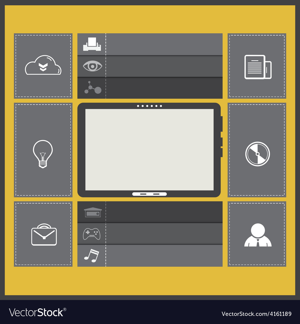 Ui flat design with tablet computer vector | Price: 1 Credit (USD $1)