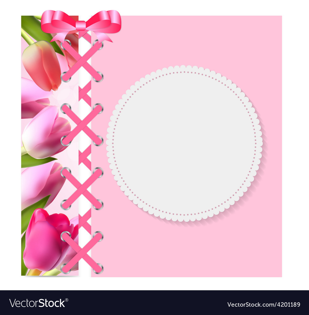 Vintage frame with bow ribbon and tulip folwers vector | Price: 1 Credit (USD $1)