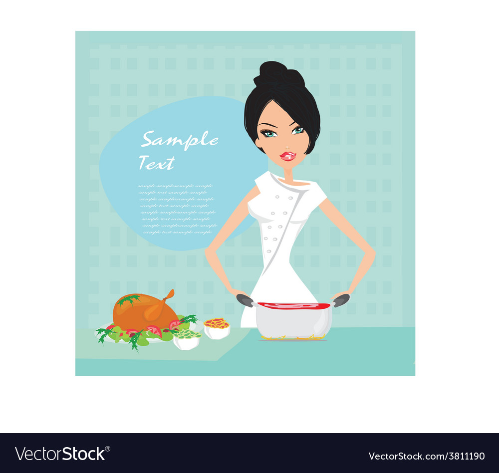 Beautiful lady cooking lunch vector | Price: 1 Credit (USD $1)