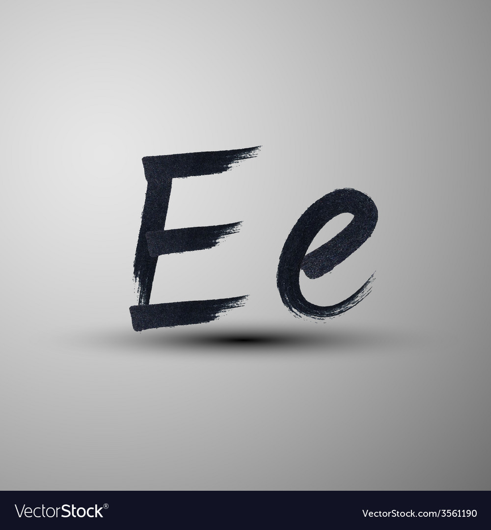 Calligraphic hand-drawn marker or ink letter e vector | Price: 1 Credit (USD $1)