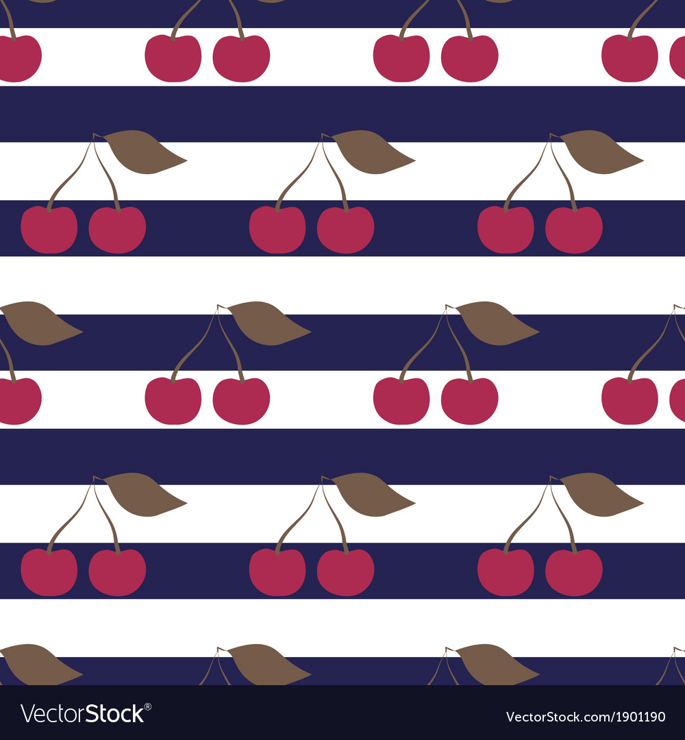 Cherry seamless pattern on striped background vector   Price: 1 Credit (USD $1)