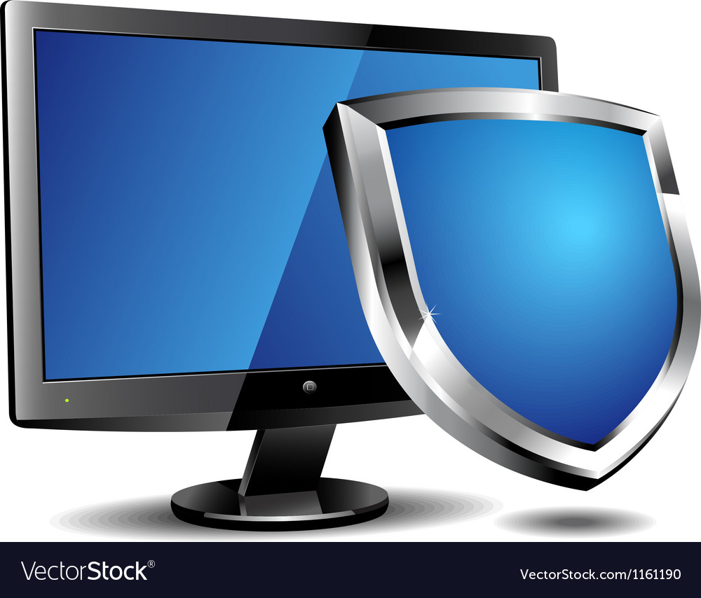 Computer security shield vector | Price: 1 Credit (USD $1)
