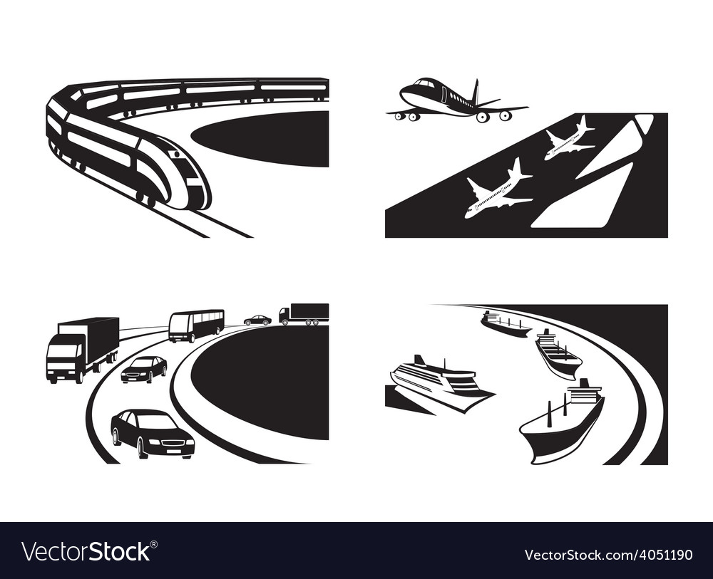 Different transportation scenes vector | Price: 1 Credit (USD $1)