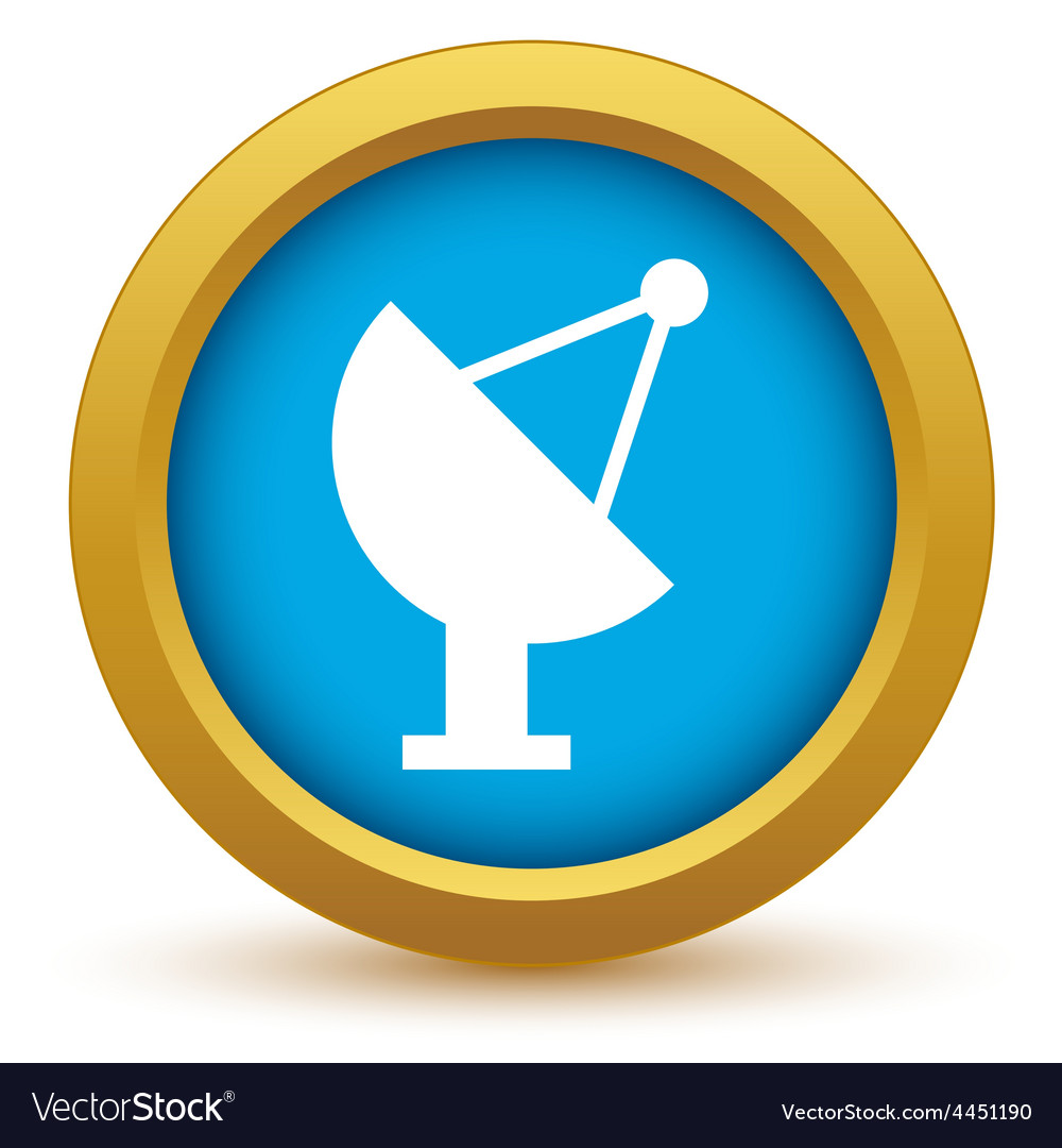 Gold satellite antenna icon vector | Price: 1 Credit (USD $1)