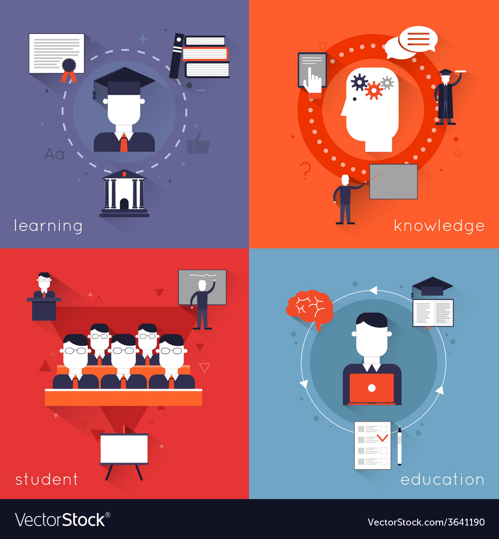Higher education flat vector | Price: 1 Credit (USD $1)