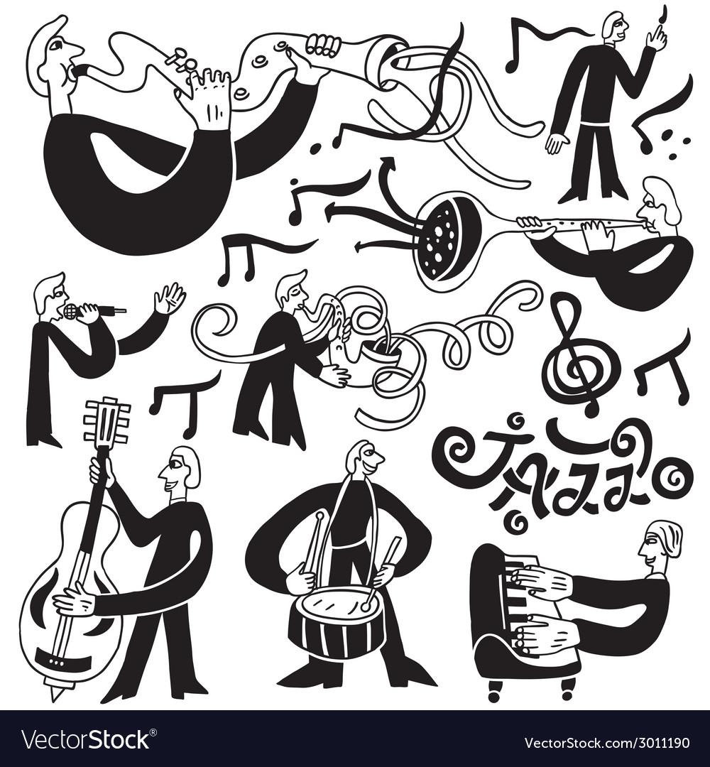 Jazz musicians symbols vector | Price: 1 Credit (USD $1)
