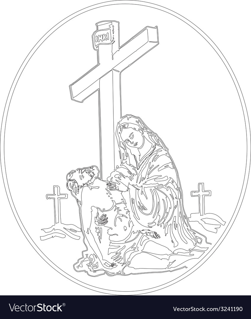 Jesus descent from the cross vector | Price: 1 Credit (USD $1)