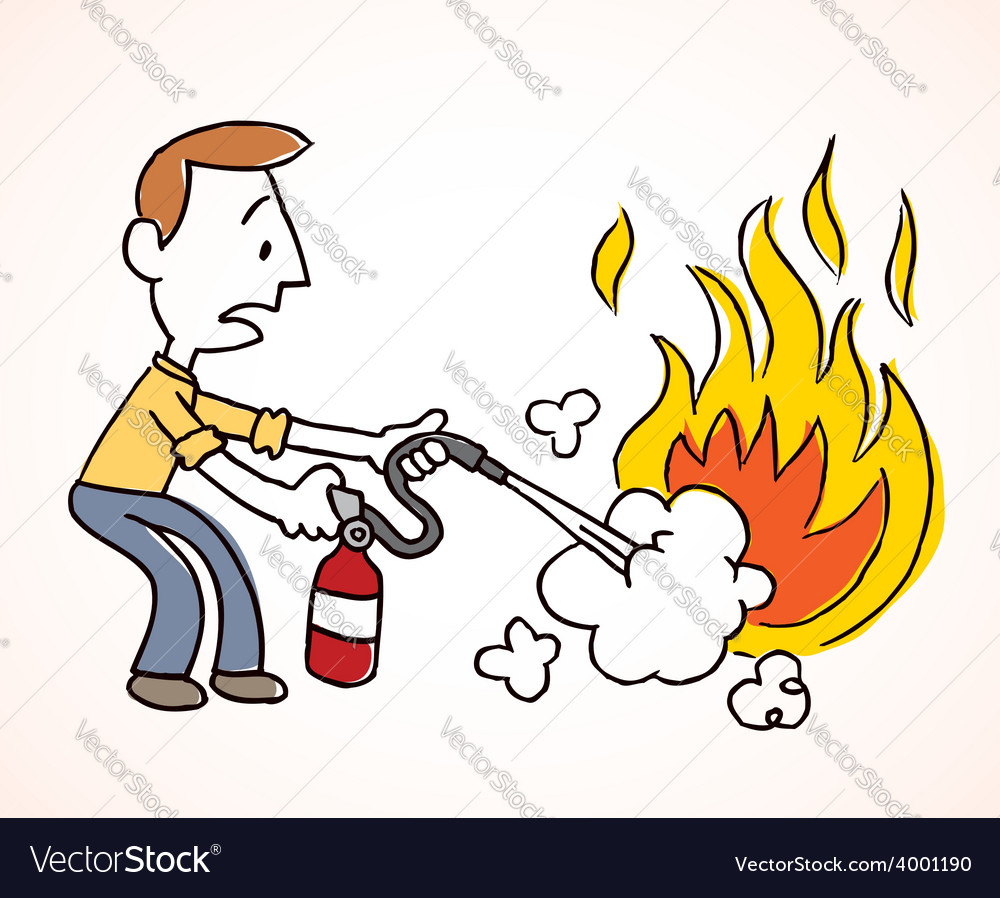 Man putting out a fire vector | Price: 1 Credit (USD $1)