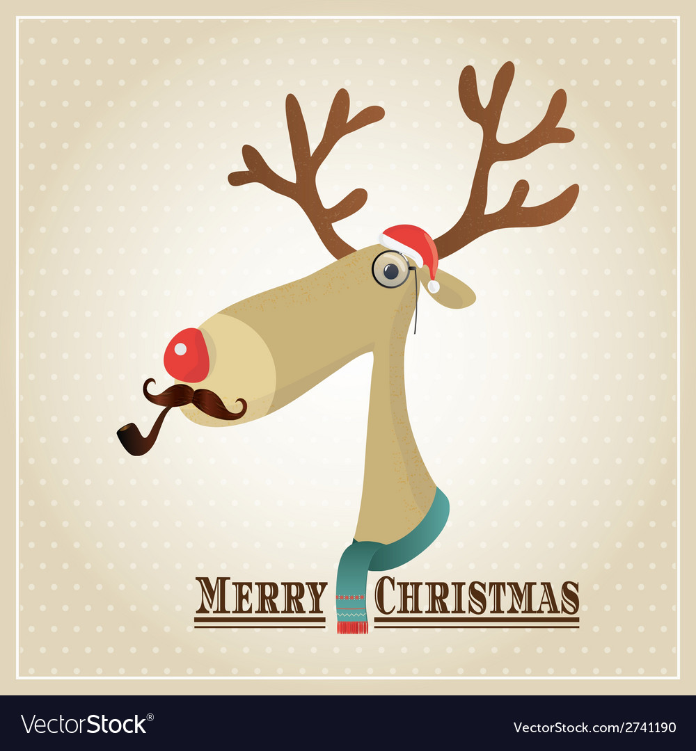 Reindeer merry christmas card vector | Price: 1 Credit (USD $1)
