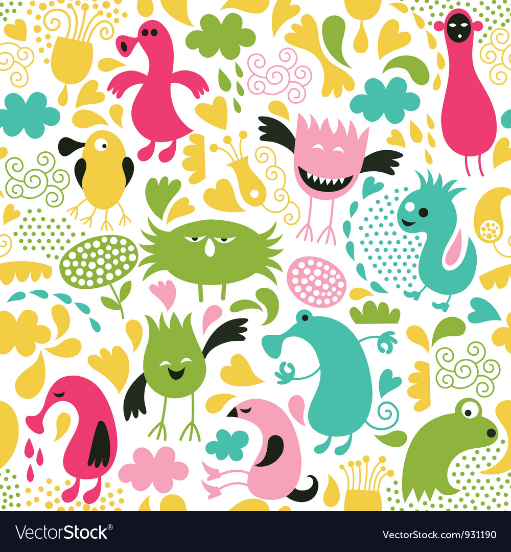 Seamless pattern with cute monsters vector | Price: 3 Credit (USD $3)