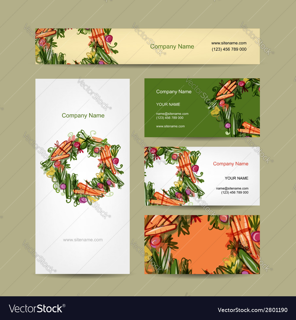 Set of business cards design with vegetable frame vector | Price: 1 Credit (USD $1)