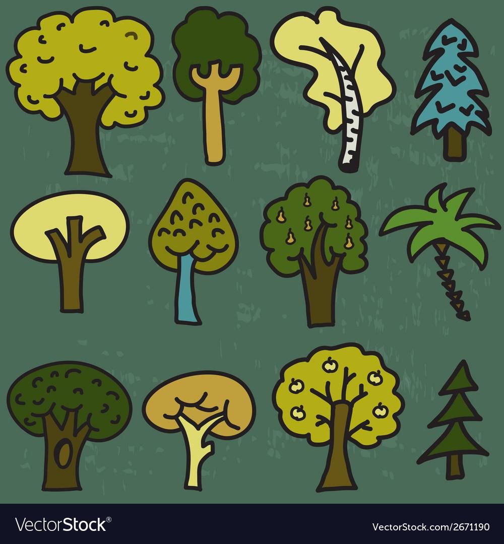 Set of twelve cute cartoon hand-drawn trees vector | Price: 1 Credit (USD $1)