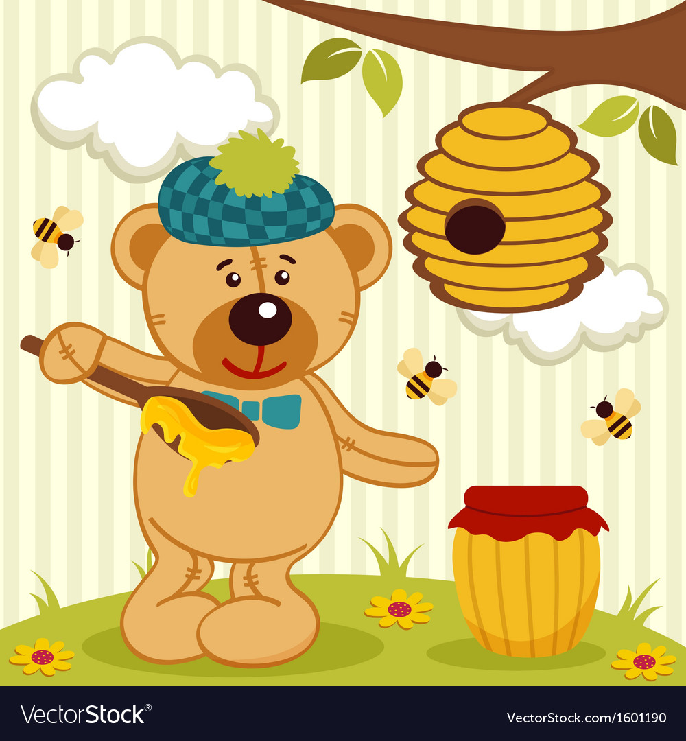 Teddy bear near beehive vector | Price: 1 Credit (USD $1)