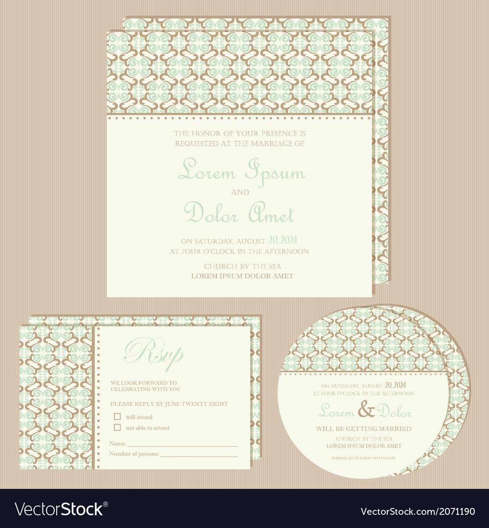 Vintage wedding invitations set vector | Price: 1 Credit (USD $1)
